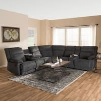 Shop a great selection of Baxton Studio Reclining Sectional Set Dark Gray Finish. Find new offer and Similar products for Baxton Studio Reclining Sectional Set Dark Gray Finish. U Couch, Sectional Sofa With Recliner, Fabric Sectional, Reclining Sectional, Corner Sectional, Living Room Sectional, Living Room Furniture, Recliners, Modern Recliner