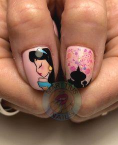 Disney Acrylic Nails, Disney Nails, Cartoon Nail Designs, Nail Art Designs, Jasmine Nails, Disney Princess Nails, Cruise Nails, Exotic Nails, Finger