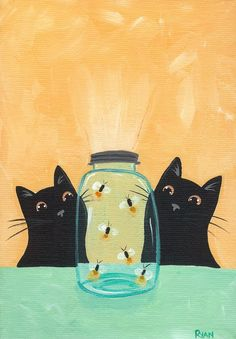 Adorable black cats being mesmerized by a jar of fireflies. #art #cute #cats
