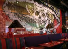 Mexican skull high definition reproduction at Pink Taco restaurant in Century City, Los Angeles. Metal Ceiling, Metal Walls, Pink Taco, Metal Facade, Space Dividers, Metal Curtain, Decorative Screens, Cool Curtains, Mosaic Designs
