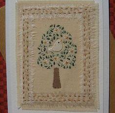 Hand-stitched card designed/made by Helen Drewett BIRD IN A TREEmore in my shop   eBay