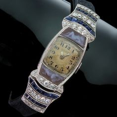 Art Deco Movado ladies watch with diamonds sapphires and cameos (13119-0030)