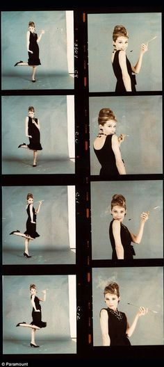 Contact sheets of Audrey Hepburn posing as Holly Golightly for the promotion of Breakfast at Tiffany's, 1961.