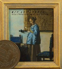 "Minieture reproduction work. Vermeer""The letter"" acrylic on cardboard."