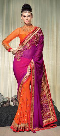 151811: #Saree #IndianFashion #ColorBlock #WeddingCouture #Bridalwear #Partywear #Embroidery #onlineshopping #sale #valentinesDay