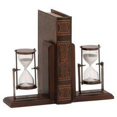 Dark Brown Wood Hourglasses Sand Bookends Book Holders Library Home Decor Grey Wood, Brown Wood, Dark Brown, Mahogany Brown, Wooden Bookends, Sand Timers, Book Holders, Home Libraries, Joss And Main
