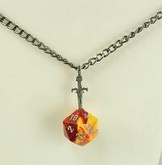 D20 Necklace Sword Pendant in Dice Nerd Geek RPG by PinchtheMuse, $30.00