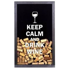 Quadro Porta-Rolhas Keep Calm And Drink Wine (Grande) | Fábrica9