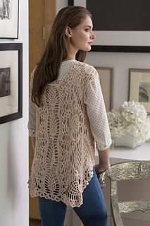Crochet a lacy vest using a repeating pineapple motif. The soft cotton yarn drapes beautifully and is comfortable to wear.