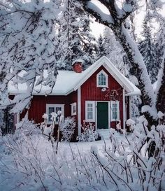 Little red cottage in the snow ❄️ Nyköping 🌲 via Scandinavian Cottage, Swedish Cottage, Red Cottage, Cottage Homes, The Snow, Sweden House, Houses In Sweden, Red Houses, Woodlands Cottage