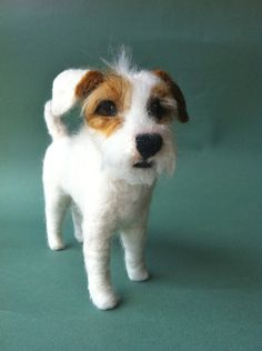 Made of Wool! Needle Felted Fiber Sculpture of your Jack Russell or other Small, Rough Coat Breed. $350.00, via Etsy.