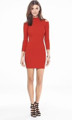 red cold shoulder sheath dress from EXPRESS
