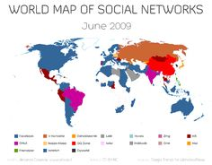 Animated world map of social networks, 2009 - 2013