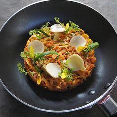 """"""" ผัดไทย """"  Phad Thai - Fried small rice noodles with prawns &chicken and tamarind sauce.-"""