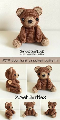 What an adorable crochet teddy bear pattern! I love the buttons attaching his arms and legs! So cute! What a lovely amigurumi toy to crochet ! #etsy #ad