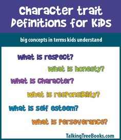 definitions of good character traits for lessons and social skills activities