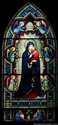 """""""Madonna and Babe"""" Religious Stained Glass Window"""