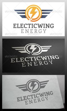 Electric Wings Logo Template by BossTwinsArt - Three color version: Color, greyscale and single color. - The logo is resizable.- You can change text and colors very easy Electricity Logo, Three Letter Logos, Trade Logo, Lightning Logo, Wings Logo, Logo Creation, Unique Logo, Graphic Design Projects, Logo Inspiration