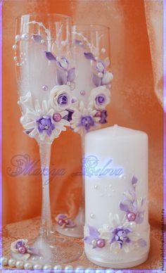 Купить Набор свадебных аксессуаров - сиреневый, свадьба, свадебные бокалы, свечи на свадьбу