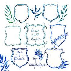 hand painted crest basic shapes for custom design crests and heraldry - watercolor clip art - digital download - diy wedding invitation