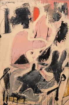Willem de Kooning, Valentine, 1947, Oil and enamel and paper on bard, 92,2 x 61,5 cm Kooning, Willem de: Fine Arts, After 1945 in America | The Red List