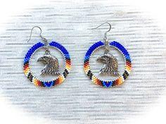 Native American Style Beaded Hoop Earrings Eagle Head Blue Multi Color Tribal  #Handmade