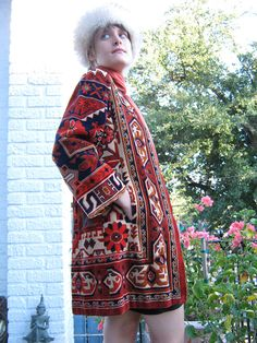 60s Rich Hippie Carpet Coat Designer Runway Rare by PaisleyBabylon, $650.00