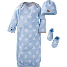 Wrap baby boy in 100% cotton organic interlock comfort with this 3-piece gown starter set. Includes one lap should gown, one cap, and one pair of bootie socks. Perfect for a good night's sleep!