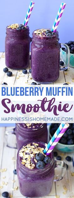 This delicious blueberry muffin smoothie is the perfect way to start your day! A healthy on-the-go breakfast that tastes just like your favorite bakery treat! via 3 day detox smoothie Smoothie Bowl Vegan, Smoothies Vegan, Smoothie Bol, Smoothie Fruit, Smoothie Drinks, Easy Smoothies, Healthy Dessert Smoothies, Breakfast Detox Smoothie, Smoothie Detox