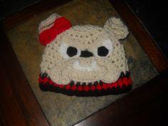 Georgia Bulldog Crochet Hat Bulldog HatBow by KendalsCreationsSt