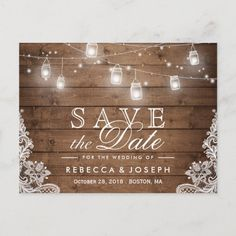 Rustic Mason Jar Lights Lace Wedding Save the Date Announcement Postcard Mason Jar wedding invitations and rustic wedding stationery. Country Wedding Invitations, Save The Date Invitations, Save The Date Postcards, Wedding Invitation Cards, Save The Date Cards, Wedding Stationery, Invites, Zazzle Invitations, Party Invitations