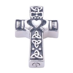 High quality 316L Stainless Steel Claddagh Cross Pendant Necklace Trendy Memorial ash urn Cremation Jewelry Friendship Necklaces