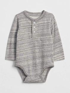 6bfeef1402af Gap Henley Long Sleeve Bodysuit Grey Bodysuit
