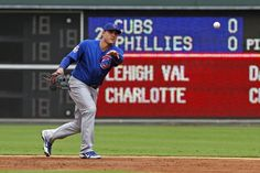 Anthony Rizzo #44 of the Chicago Cubs tosses the ball to first base during a game against the Philadelphia Phillies at Citizens Bank Park on August 8, 2013 in Philadelphia, Pennsylvania. The Phillies won 12-1. (Photo by Hunter Martin/Getty Images)