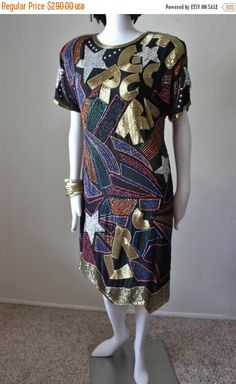 SALE Vintage sequin beaded dress, celebrity fave, 1980s, Swee Lo, shift dress, short sleeve, colorful, midi length. Size Large by StarsonMarsCo on Etsy