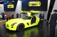 Mercedes SLS- Electric. Paint absorbs sunlight and glows in the dark.