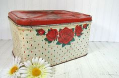 Rustic Metal Red Roses Decorated Bread Box  by DivineOrders, $23.00