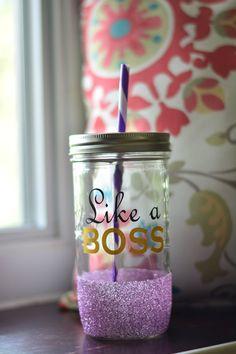 Like a Boss Boss Lady Mason Jar Tumbler by SillyGeeseBoutique  glitter dipped, mason jar, tumbler, boss lady, like a boss, working mom