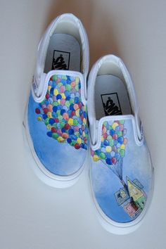 Custom Painted Shoes Up Wedding Theme by thebethslade on Etsy, $100.00