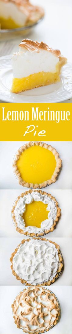 Mile high lemon meringue pie! Tart and creamy lemon custard filling with a billowy meringue top. On http://SimplyRecipes.com