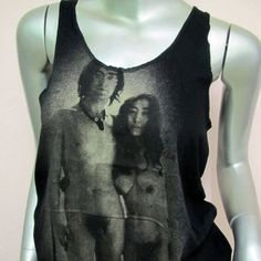 ohn Lennon nude sexy T-shirt Women Tank Tops Singer Idol vintage Music Pop Rock Punk heavy metal Hip Hop Black Sz.M Tj23. $15.99, via Etsy.