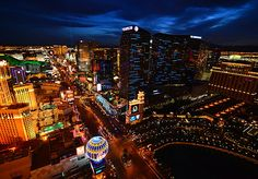 View down the Strip in Las Vegas.