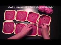 Joining Blanket Squares with single crochet;  fancy crochet join tutorial here: http://carinascraftblog.wardi.dk/2009/06/granny-square-joining-tutorial.html