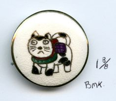 vintage Satsuma cat button