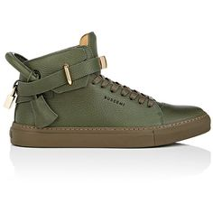 Buscemi Men's Men's 100MM Leather Sneakers ($890) ❤ liked on Polyvore featuring men's fashion, men's shoes, men's sneakers, dark green, mens leather high tops, mens lace up shoes, mens hi top shoes, mens shoes and mens leather high top shoes