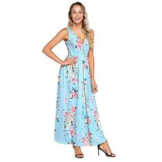 1ac50e26483 Mercantil Express New Women Fashion Multi Floral Print Maxi Dress Summer  Sexy V Neck Sleeveless Loose Fit Hollow Out Boho Dresses Vestidos Mujer L      Visit ...