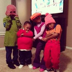 Hey Hey It's Fat Albert & the Cosby kids - one of the best Halloween costumes ever Character Halloween Costumes, Unique Halloween Costumes, Cute Costumes, Group Costumes, Halloween Kids, Happy Halloween, Costume Ideas, Awesome Costumes, Halloween Stuff