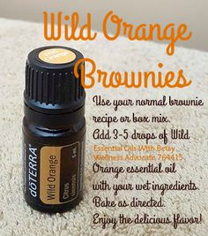 How to make doTERRA Wild Orange essential oil flavored brownies. Great for an essential oil party, or even just an afternoon snack! Learn more about essential oils at www.essentialoilswithbetsy.com