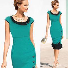 New Vintage Women Dress Vestidos Bodycon Solid Peter Pan Collar Office Dress Short Sleeve Slim Elegant OL Summer Dress 6 Colors