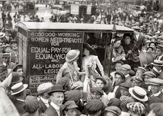 """New York, August 1913. """"Suffragettes on way to Boston."""" Our second look at the """"suffrage caravan"""" campaign for women's voting rights. Which seems to have drawn quite a crowd. 5x7 glass negative, G.G. Bain Collection. (via Shorpy Historical Photo Archive :: Tambourine Woman: 1913)"""